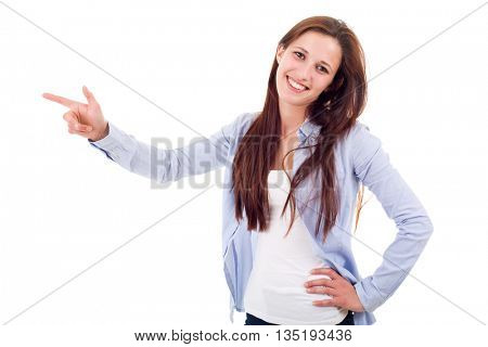 young happy beautiful woman pointing, isolated in white