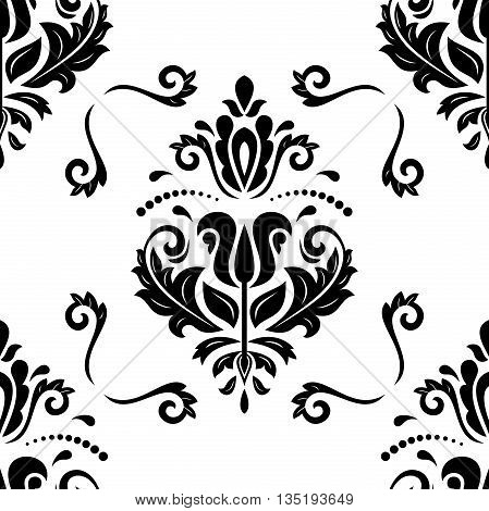 Seamless oriental ornament in the style of baroque. Traditional classic pattern. Black and white wallpaper
