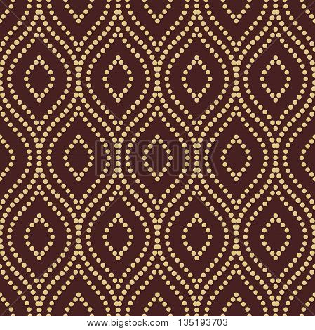 Seamless ornament. Modern geometric pattern with repeating dotted wavy lines