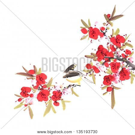 Traditional Chinese painting of flowers and bird
