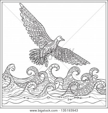 Hand drawn decorated gaviota over the ocean with waves. Image for adult and children coloring book engraving etching embroidery decorate t-shorts tunics. eps 10