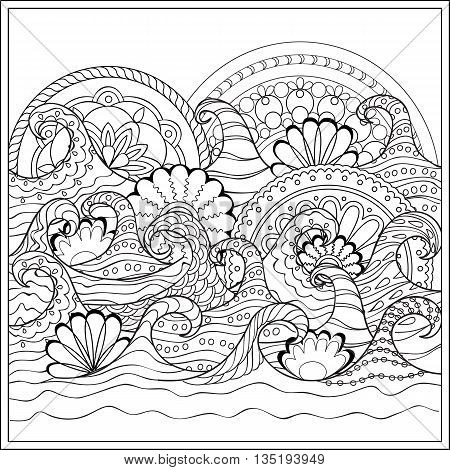 Hand drawn mandalas in the ocean with decorated waves. Image for adult and children coloring book engraving etching embroidery decorate t-shorts tunics. eps 10
