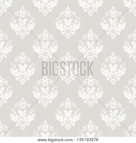 Oriental classic beige and white ornament. Seamless abstract background