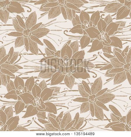 Graphic vanilla flowers. Vector floral seamless pattern