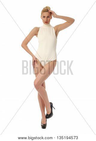 Portrait Of Slim Sexy Girl In Bodysuit Posing Isolated