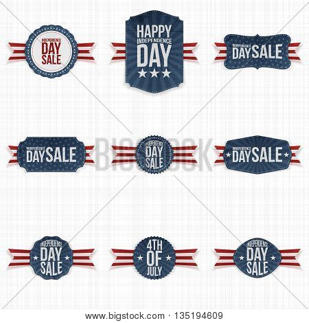 Independence Day Sale Labels with Ribbons. Vector Illustration