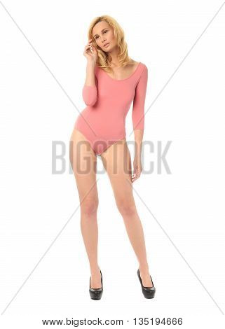 Portrait Of Slim Sexy Girl In Pink Bodysuit Posing Isolated