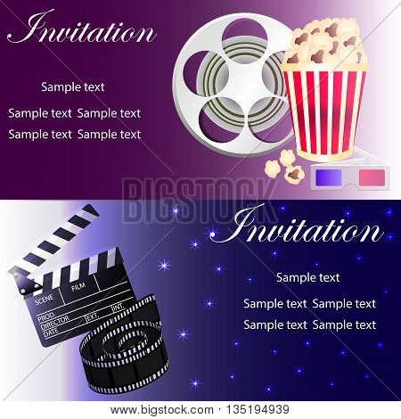 Movie concept template with popcorn bowl film strip movie clapper glasses movie reel. Two variants of invitation. Vector illustration.