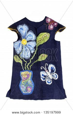 Children's vest felted wool on a white background
