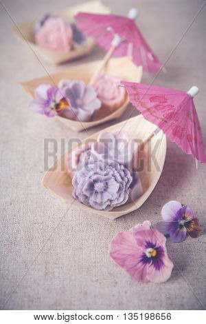 Pastel Pink Purple Flower Coconut Jelly On Bamboo Serving Boat,vintage Toning