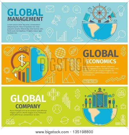 Flat concept banners of Global management, economics, company. Line art icons Innovation and solution. business idea. Three banners. Vector illustration