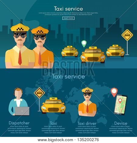 Taxi service banner book a taxi to the city dispatcher taxi call vector illustration
