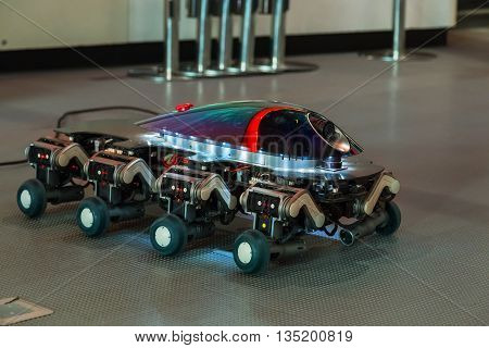 TOKYO JAPAN - NOVEMBER 27 2015: A Small robot displayed at Miraikan The National Museum of Emerging Science and Innovation in Odaiba area