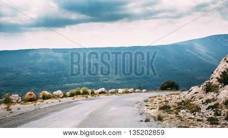 Open Asphalt Mountain Road In Verdon Gorge In France. French Landscape. Panorama