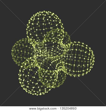 Molecule. Graphic Design. 3D Vector Illustration. Connection Structure for Chemistry and Science.
