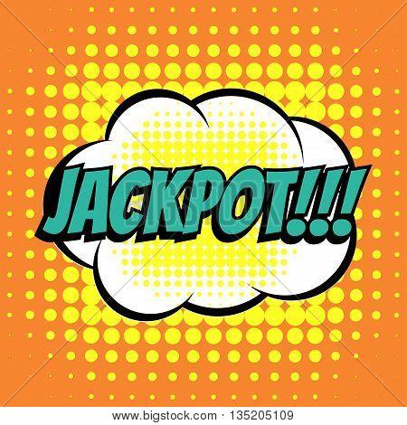 Jackpot comic book bubble text retro style