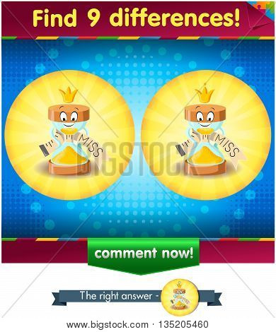 Visual Game for children. Find 9 differences the funny hourglass