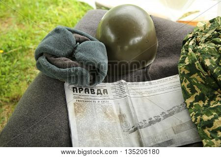 OLD BRETHPAGE, NEW YORK - MAY 22, 2016: World War II Soviet Army military memorabilia on display during World War II encampment in Old Bethpage, NY