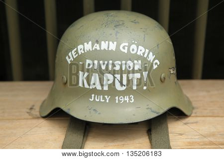 OLD BETHPAGE , NEW YORK - MAY 22, 2016: World War II American military memorabilia on display during World War II encampment in Old Bethpage, NY