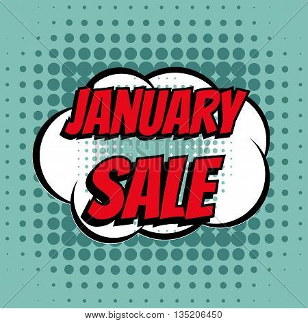 January sale comic book bubble text retro style