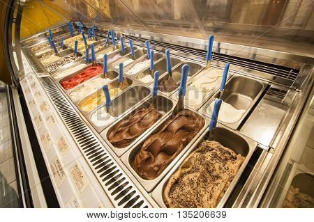 Display of artisanal natural ice cream gelato made in italy