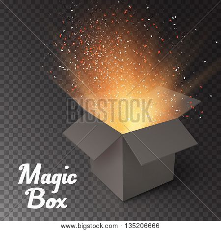 Illustration of Magic Box with Confetti and Magic Light. Realistic Magic Open Box. Magic Gift Box with Magic Light Comming from Inside Isolated on Transparent Overlay Background