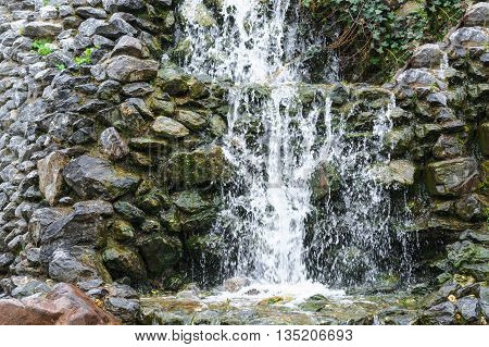 Small waterfall cascade flowing over mossy boulders in a botanical garden.