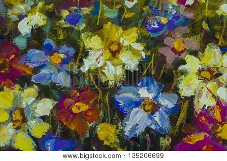 Big flowers. Close up fragment of oil painting artistic flowers image. Palette knife flowers macro. Macro artist's impasto flowers texture mixed oil paints flowers.