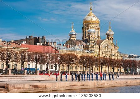 Saint-Petersburg, Russia - April 16, 2016: view on the Assumption Church on Vasilevsky Island in Petersburg