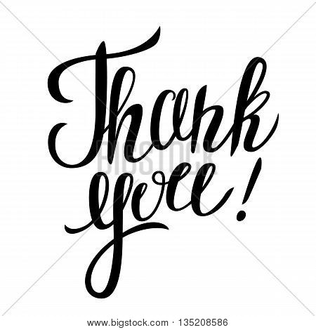 "Thank you hand lettering. Vector illustration with lettering ""Thank you!"" isolated on white background."