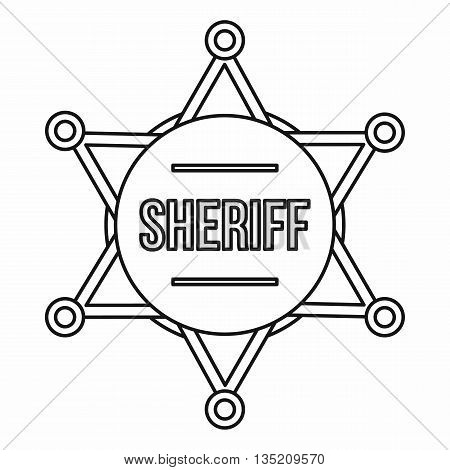 Sheriff badge icon in outline style isolated on white background
