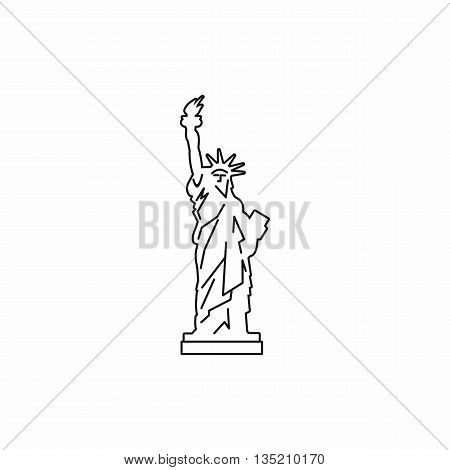 Statue of liberty icon in outline style isolated on white background