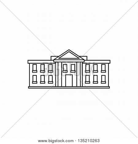 White house USA icon in outline style isolated on white background