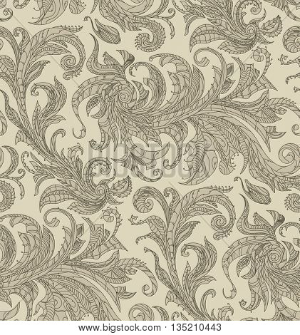 Handmade unusual seamless vector pattern. Exotic floral design background. Feathers and leaves, black thin contour line. Art print on fabric