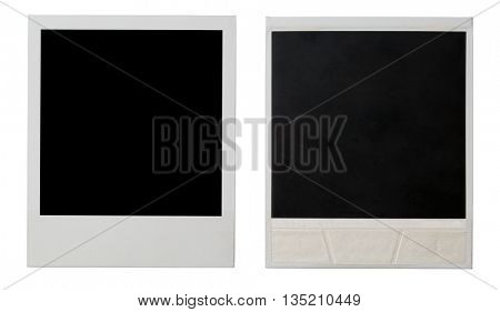 TOMSK, RUSSIA - FEB 25, 2013: Polaroid photo both sides isolated on white. Polaroid is American company that is best known for its Polaroid instant film and cameras according to Wikipedia.