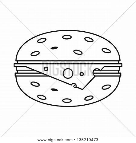 Cheeseburger icon in outline style isolated on white background