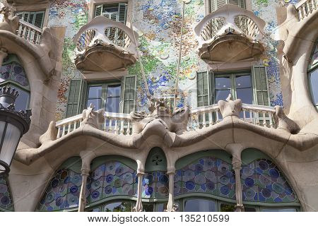BARCELONA SPAIN - MAY 11 2016 :Front of Casa Batllo Gaudi project . Building redesigned in 1904 by Gaudi located in the center of Barcelona it is on the UNESCO World Heritage Site.