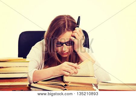 Young woman learning to exam