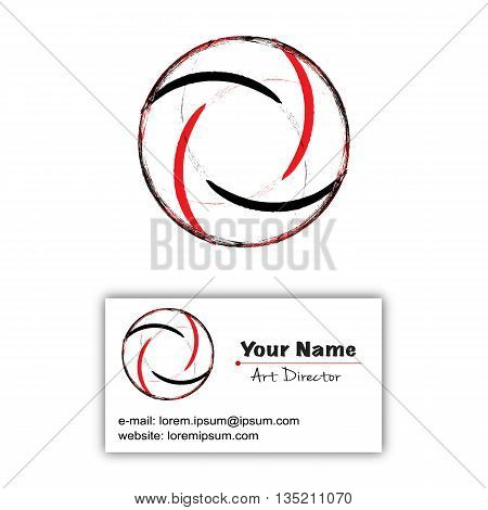 Abstract vector letter O logo and business card in dirty grunge style. Black red logotype design elements. Business card with logo conceptual design. Two colors grunge brush design.