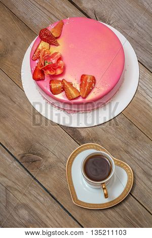 mousse cake decorated with strawberries flat lay