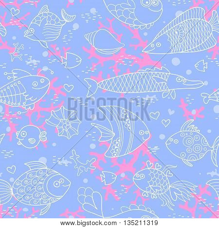 Background of underwater world. Seamless pattern with cute fish, shells, corals. Vector illustration.
