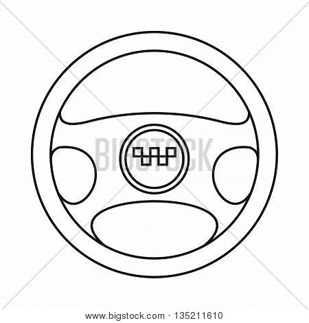 Steering wheel of taxi icon in outline style isolated on white background