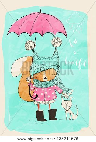 cute little girl with dog and umbrella