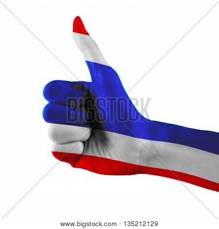 Thailand Flag Painted Hand Showing Thumbs Up Sign On Isolated White Background With Clipping Path