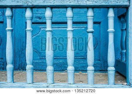 old painted Blue bars colony style for cooling and protection