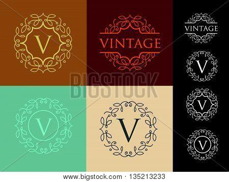 Letter Logo. Simple and elegant floral design logo, Elegant lineart luxury vector logo design