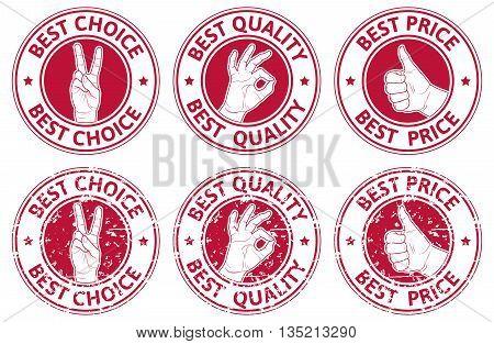 Set of badges with hands gesture symbols. Vector illustration.