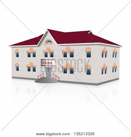 Separately standing office building with reflection. Vector illustration.
