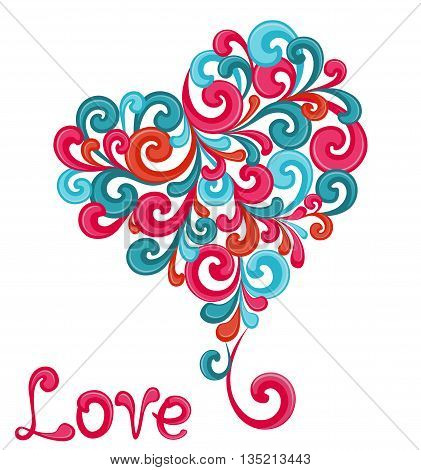 Abstract heart with swirls isolated on white background. Vector illustration.