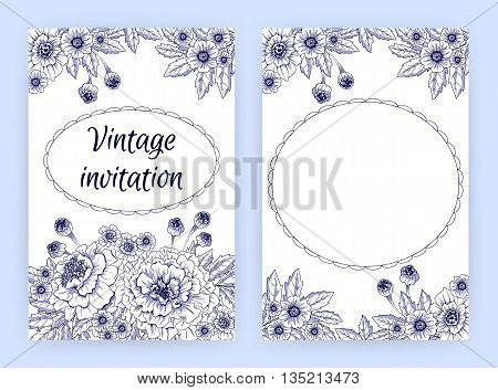 Invitation card template with marigolds. Vector illustration.